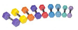 Rubber Hex Dumbbell - Color 10 lb Rubber Hex - Purple