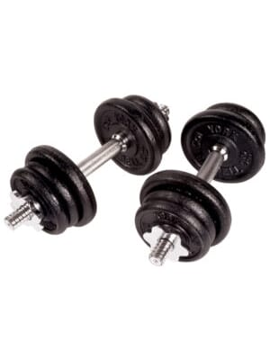 YORK 30 lbs. Black Contour Cast Iron Adj. S/L Dumbbell Set