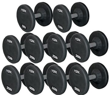YORK 105 - 125 lb Rubber Pro Style Dumbbell Set (5 Pair)