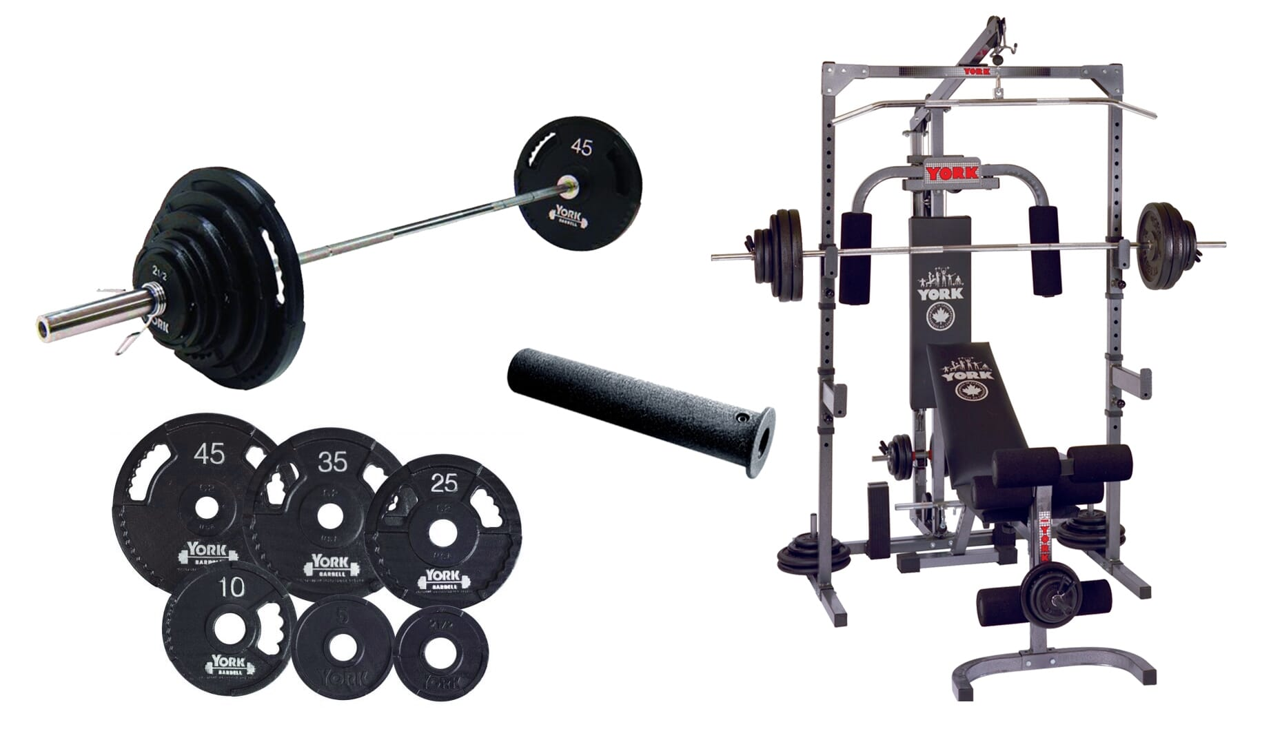 York Barbell Basic Training Power Cage With Pulley and Barbell System