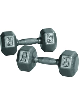 YORK Barbell Pro Hex Dumbbell Cast Ergo Handle Grey 3lb-100lbs