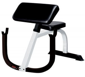 FT Preacher Curl Bench White Frame/Black Upholstery