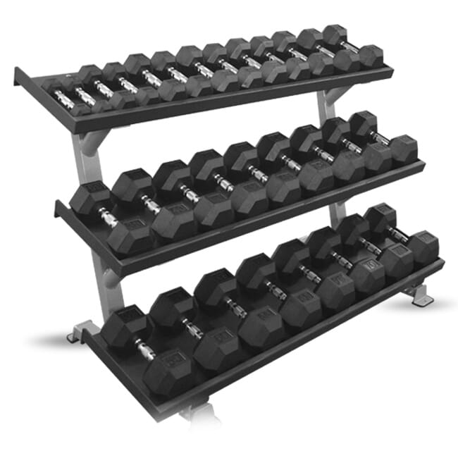 "Inflight 5007-3 69"" 3-Tier Dumbbell Rack W/ Weights"