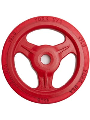 "YORK ""Bumper Grip"" 45 lb Cast Steel Composite Milled Plate - Red"