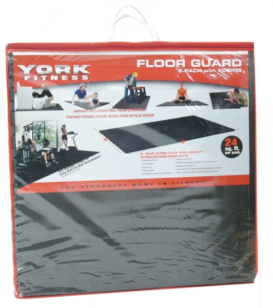 2'x2'x12mm YORK Floorguard with Edging Shrink Wrap Package - Pack of 4 - Black