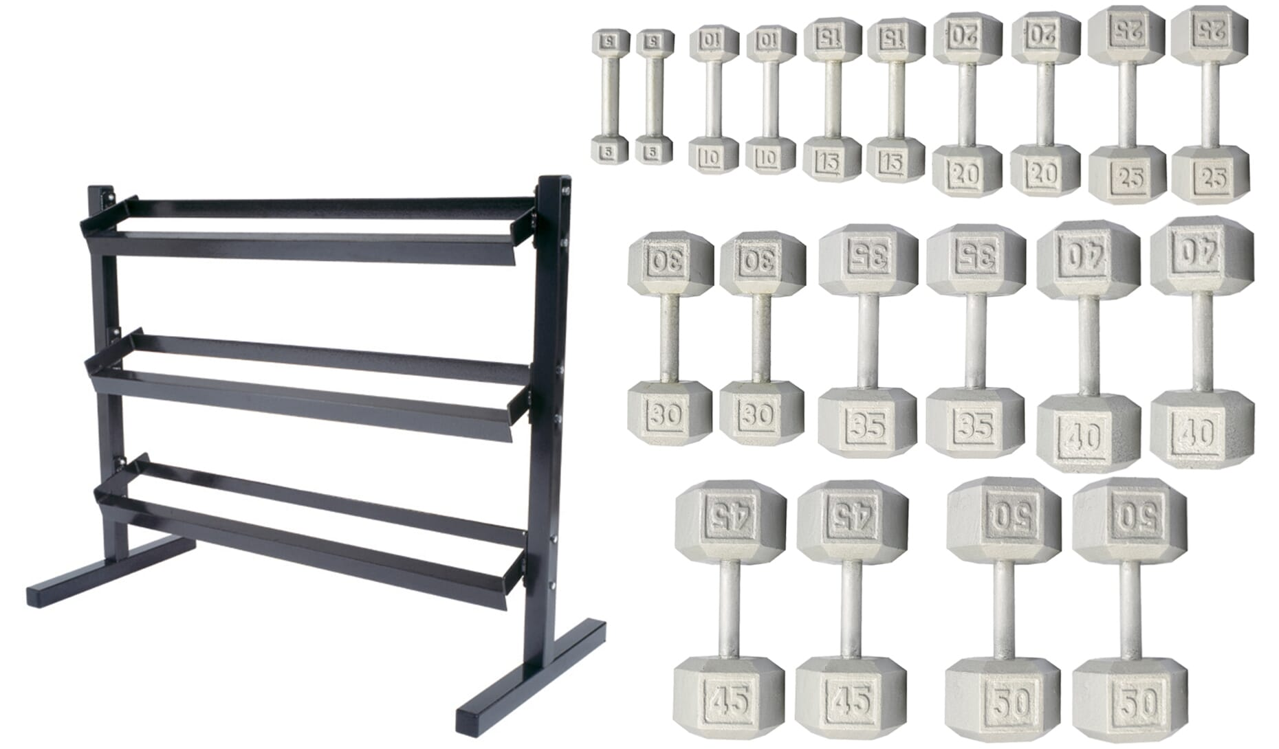 York Barbell 5-50lb Cast Iron Hex Dumbbells With Deluxe 3 Tier Rack