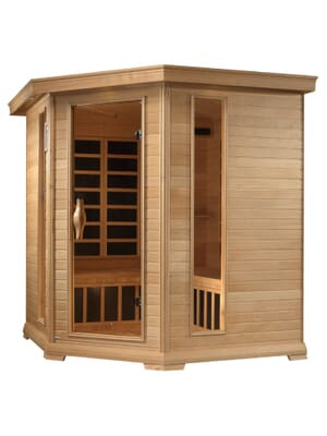 "Golden Designs ""Monte Carlo"" 4-5-person Corner Near Zero EMF Far Infrared Sauna Canadian Hemlock"