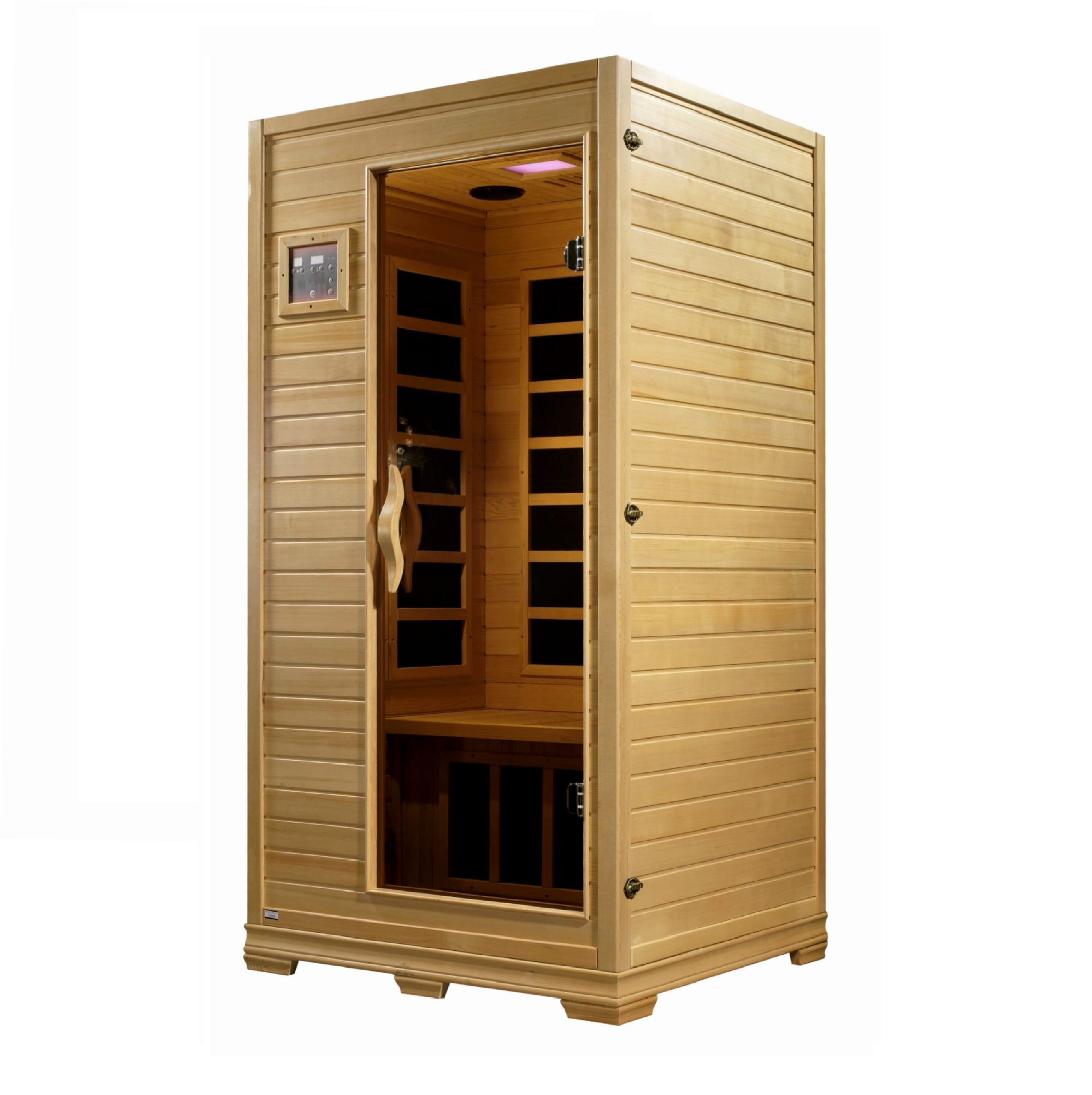"Golden Designs ""Studio Series"" 1-2-person Low EMF Far Infrared Sauna Canadian Hemlock"