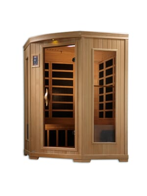 "Golden Designs ""Grand Series"" 3-person Cornor Low EMF Far Infrared Sauna Canadian Hemlock"