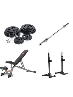 Xtreme Monkey Weight Lifting Package - Olympic Plates FID Bench Olympic Bar Squat Stands